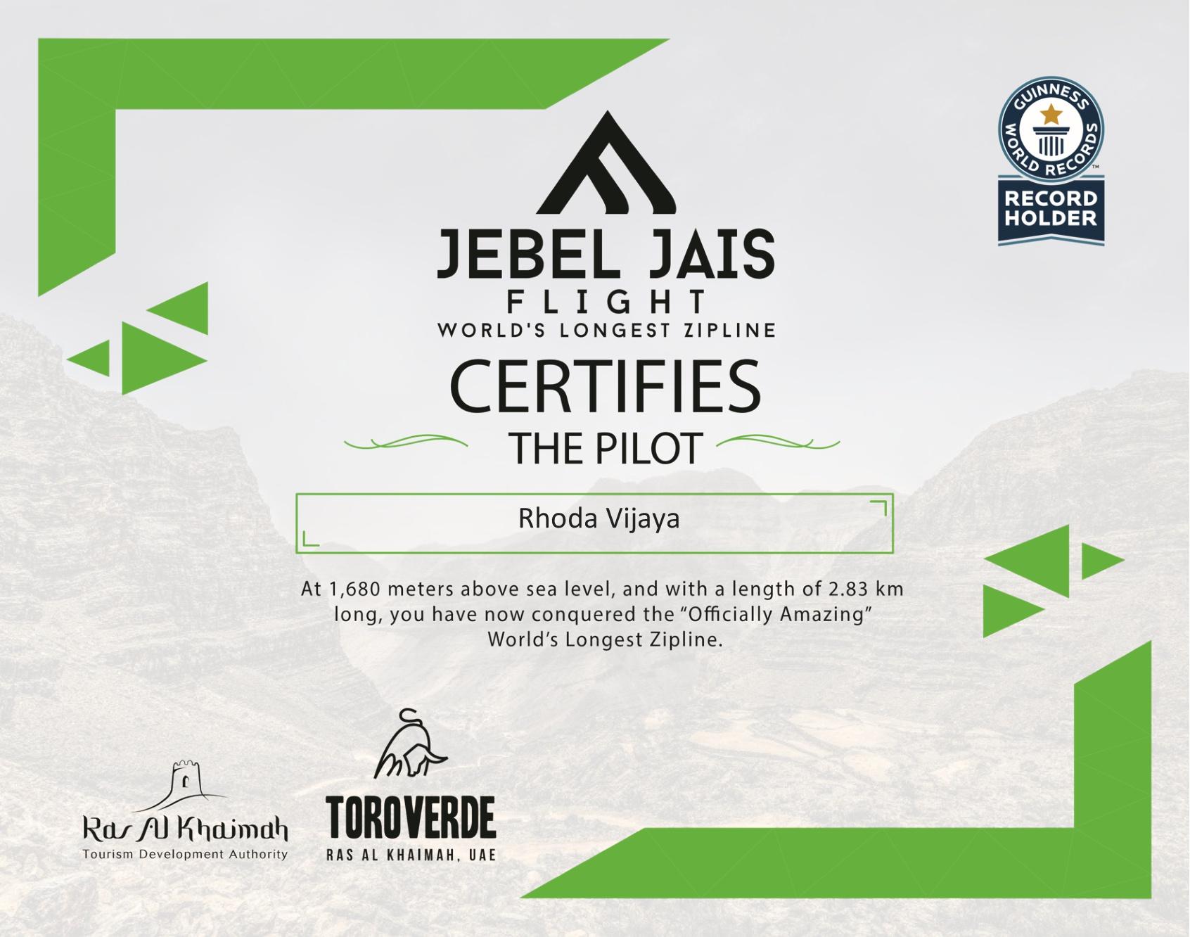 Zipline Certificate